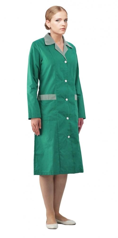 Халат женский Флора зеленый с бело-зеленым
