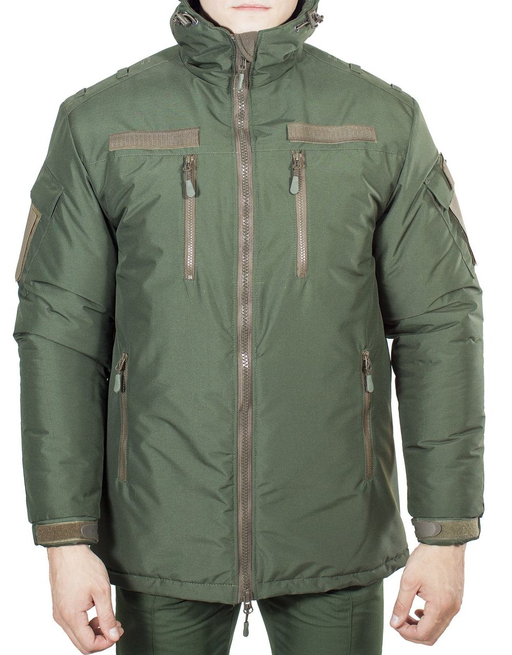 Куртка зимняя под офисную форму (ткань рип-стоп мембрана) зеленая