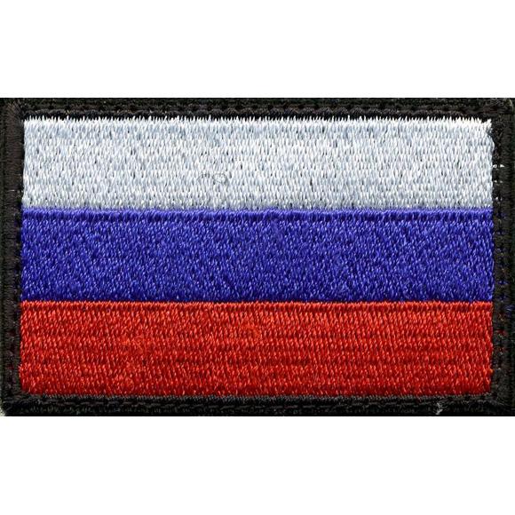 Нашивка на рукав Флаг РФ 35х55 мм с липучкой вышивка шёлк
