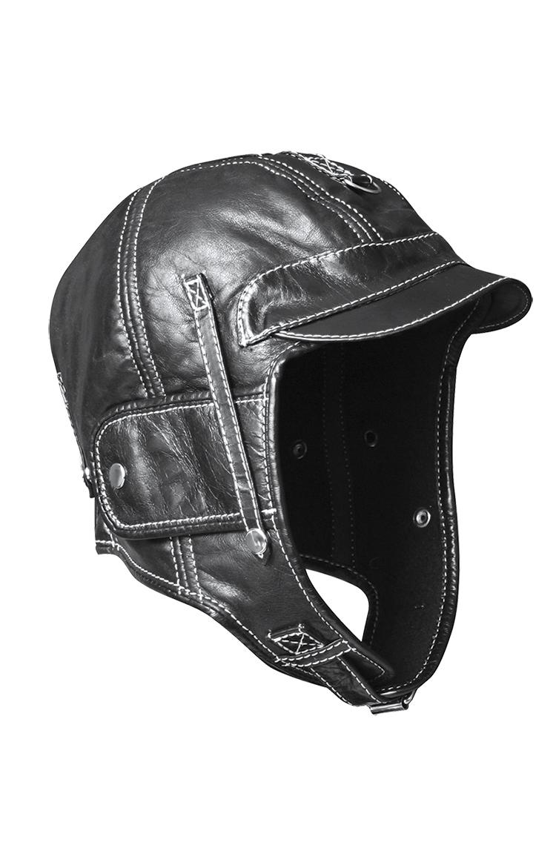 Шлем кожаный на флисе