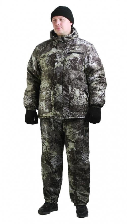 Костюм мужской Турист 1 зимний, камуфляж алова Серая глина