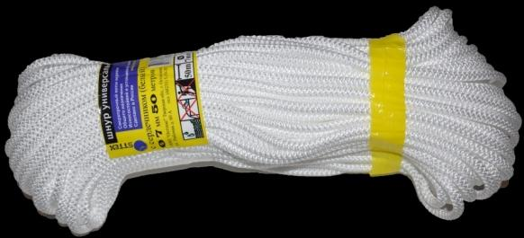 Шнур универсальный с сердечником (полипропилен) 7,0мм (50м)(белый)