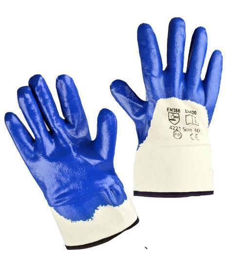 Перчатки нитриловые, крага, частичное покрытие