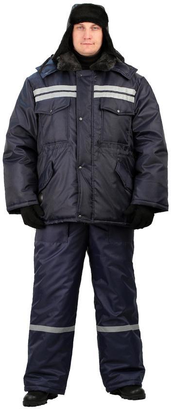 Костюм мужской Вектор зимний с полукомбинезономт-синий