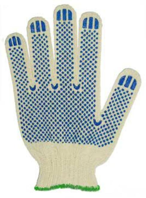 Перчатки трикотажные х/б, ПВХ точка ( 10 класс /люкс), 42 гр/пара, уп. 300 пар