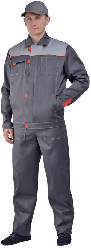 Костюм мужской Флагман-Фаворит летний с полукомбинезоном серый со светло- серым, ткань Смесовая
