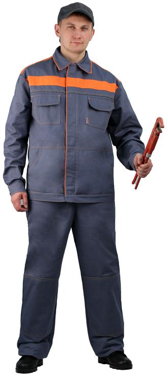 Костюм мужской Актуал летний с полукомбинезоном серый с оранжевым 100% хлопок
