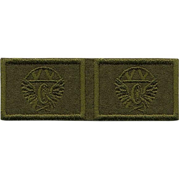 Эмблема петличная Железнодорожные войска полевая вышивка шёлк