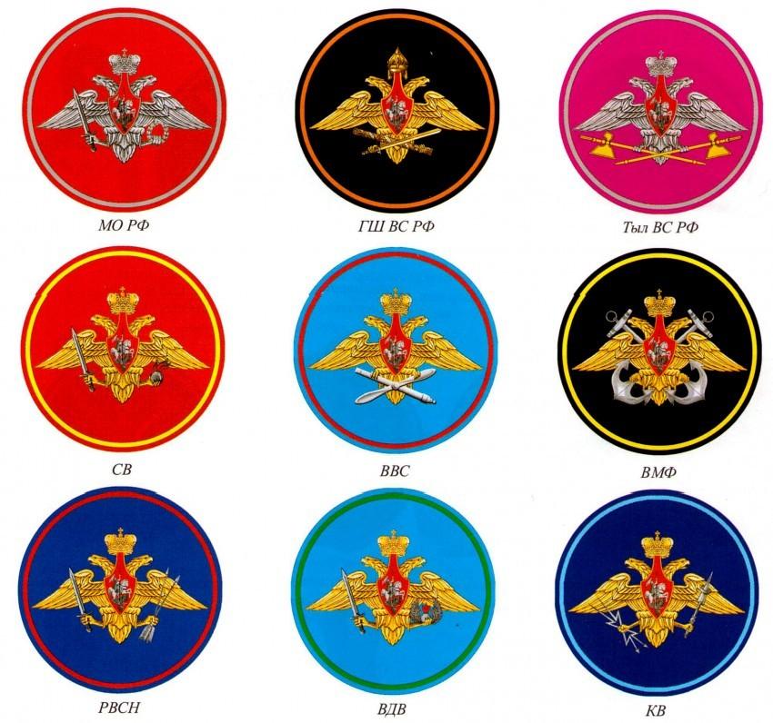 нашивки ВС РФ по родам войск